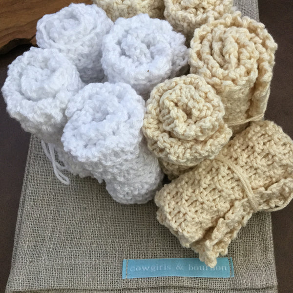 Hand Knit Dish Cloths 100% Cotton Set of Three