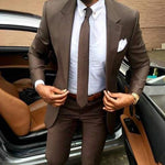 2019 Latest coat pants designs Brown men suit Slim fit