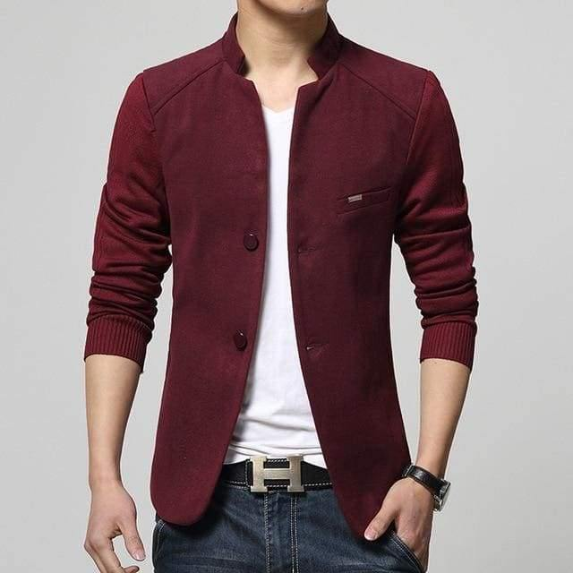 2019 New Mens Blazer Patchwork Suits For Men Top Quality Red
