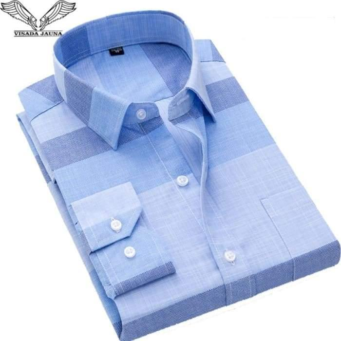 2019 New VISADA JAUNA Fashion Casual Men Shirt Slim Fit Long