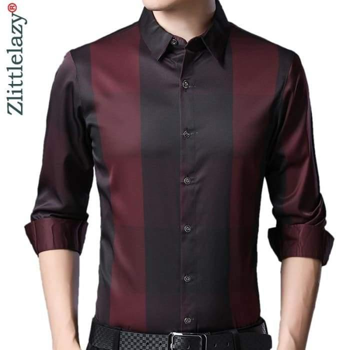 2020 Brand Casual Luxury Plaid Long Sleeve Slim Fit Men