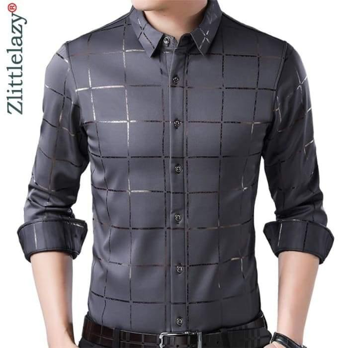 2020 Brand Casual Spring Luxury Plaid Long Sleeve Slim Fit