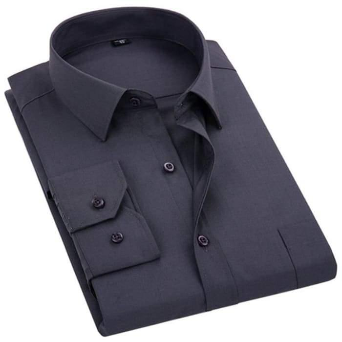 2020 New Men's Dress Shirt Solid Color Plus Size 8XL Black