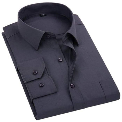 2020 New Men's Dress Shirt Solid Color Plus Size 8XL Black White Blue Gray Chemise Homme Male Business Casual Long Sleeved Shirt - World Amazing Fashion
