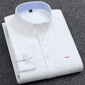 Casual Pure Cotton Oxford Mens Dress Shirts White Long
