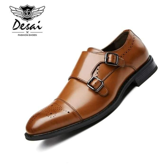 DESAI 2019 New Men's Business Dress Shoes Genuine Leather