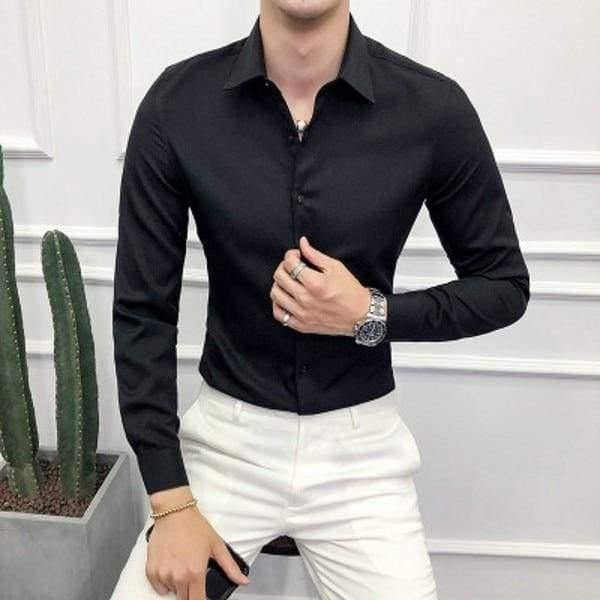 High Quality Men Shirt Long Sleeve Solid Formal Business