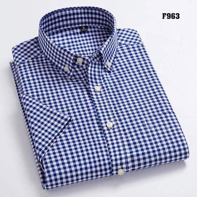 High Quality Men's Oxford Casual Shirts Leisure Design Plaid