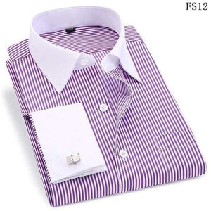 High Quality Striped Men French Cufflinks Casual Dress