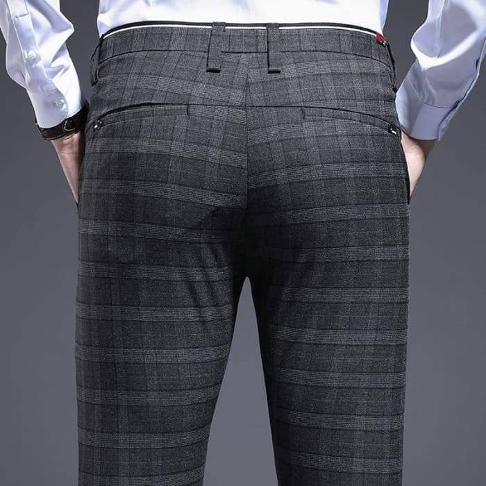 ICPANS Skinny Plaid Men Dress Pants Pencil Business Office