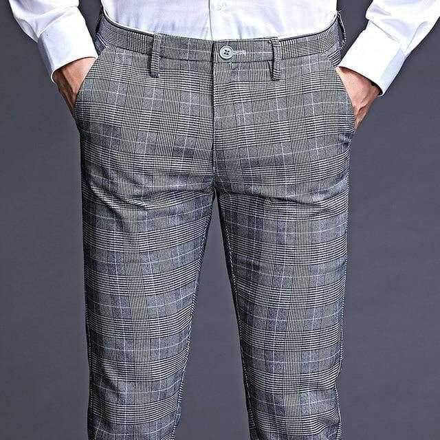 ICPANS Stretch Plaid Dress Pants Men Slim Fit Suit Length