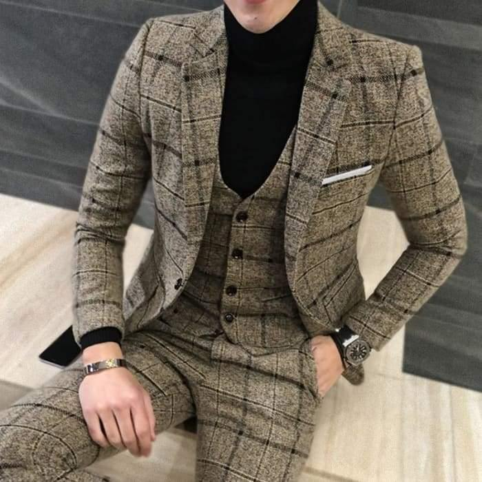 Jackets + Vest + Pants) Groom Wedding Dress Plaid Formal
