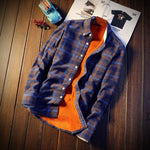 Men Autumn Winter Spring Plaid Flannel Shirts - Blue / M