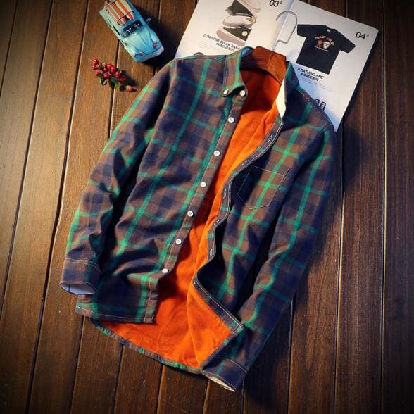 Men Autumn Winter Spring Plaid Flannel Shirts - Green / M