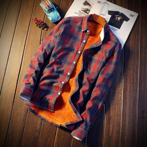 Men Autumn Winter Spring Plaid Flannel Shirts - Red / M
