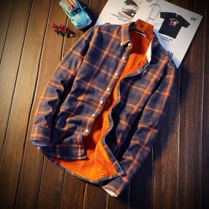 Men Autumn Winter Spring Plaid Flannel Shirts - Yellow / M
