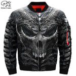 Mens 3d Bomber Jackets trippy skull head | World Amazing