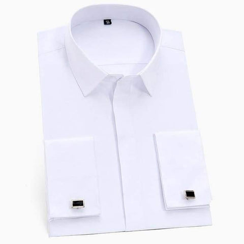 Men's Classic French Cuffs Solid Dress Shirt Covered Placket Formal Business Standard-fit Long Sleeve Office Work White Shirts - World Amazing Fashion