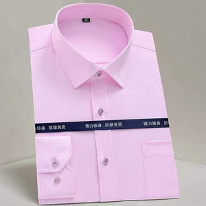 Men's Classic Standard-fit Stretch Dress Shirt Single Patch