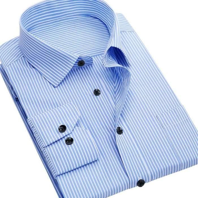 Men's Long Sleeve Shirt Slim Fit Casual Iron Striped Wear
