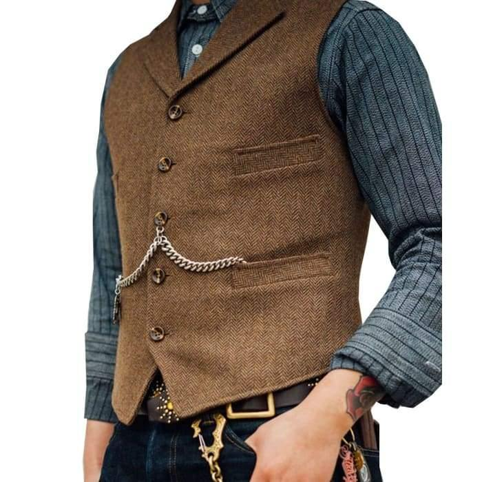 Men's Suit Vest Boutique Wool Tweed Slim Fit Leisure Cotton