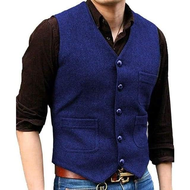 Mens Suit Vest V Neck Wool Herringbone Casual Formal