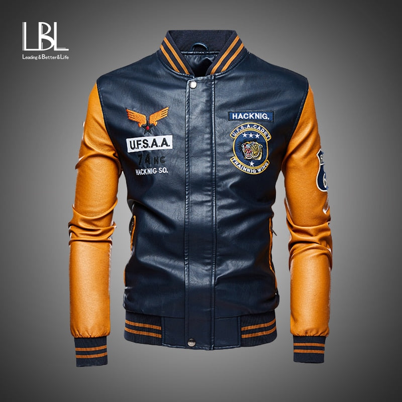Anesthetic Bomber Leather Jacket For Men Slim | World Amazing Fashion