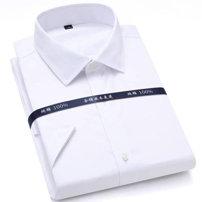 Summer Non Iron Pure Cotton Mens Formal Dress Shirts White