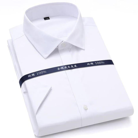 Summer Non Iron Pure Cotton Mens Formal Dress Shirts White Short Sleeve Business Office High Quality Regular Fit Male Shirt - World Amazing Fashion