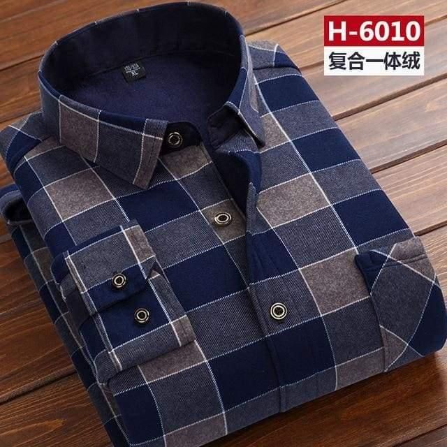 Winter Thick Velvet Dress Shirt For Men thermo Casual Long