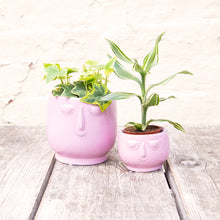 Load image into Gallery viewer, Happy Face Pink Plant Pot (2 sizes)