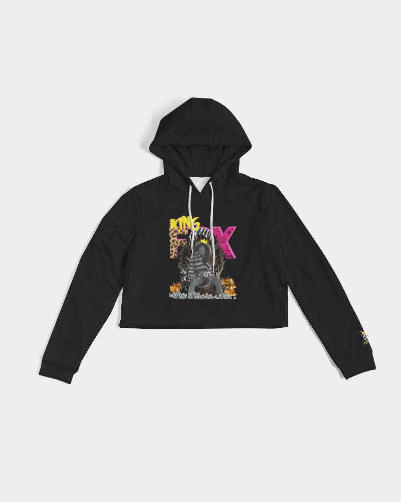 """King Fox"" Women's Cropped Graphic Hoodie"