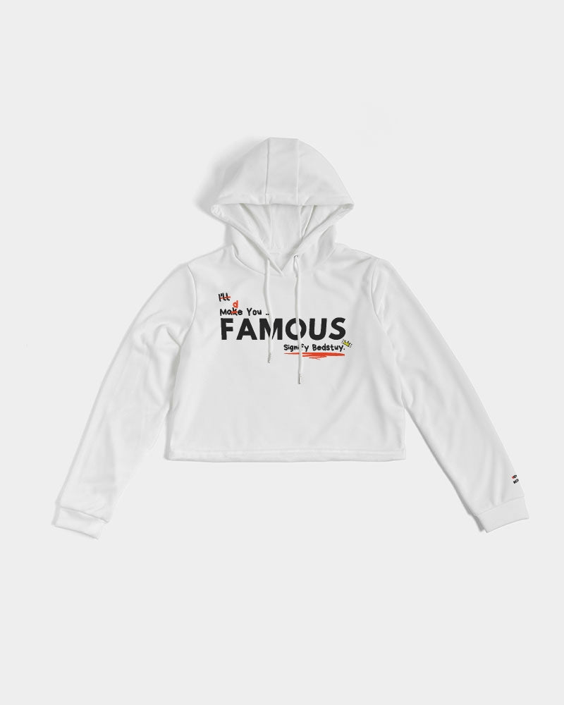 Famous Graphic (White) Women's Cropped Hoodie.