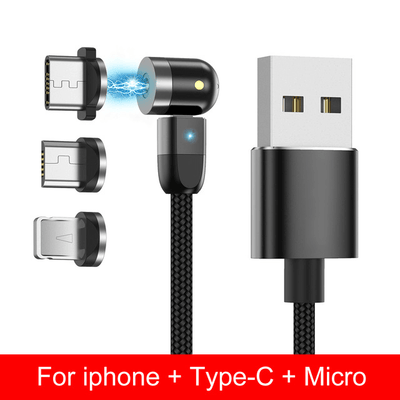 1M 360º+180º Rotation Magnetic Fast Charger 3 in 1 For iPhone & Android Micro USB/TYPE C
