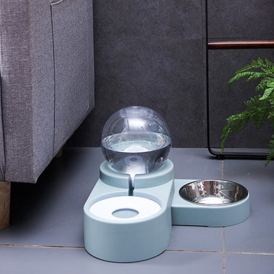 Pet Stainless Steel Bowl and Bubble Automatic Waterer