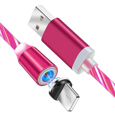 1M Magnetic Cable LED Flow Glow Micro USB Type C Lighting Charger for IPhone Samsung