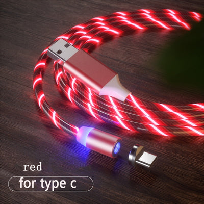 Magnetic Charging Mobile Phone Cable USB Type C Flow Luminous Lighting Data Wire for Samsung Huawei LED Micro Kable