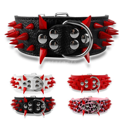 Wide Sharp Spiked Studded Leather Dog Collars