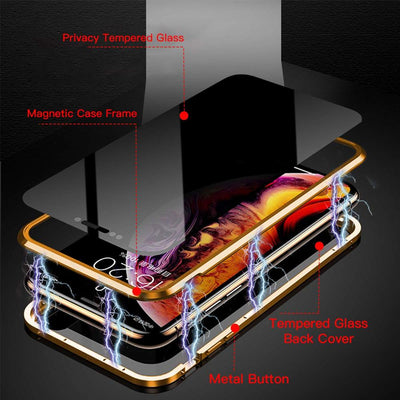 Magnetic Metal Privacy Tempered Glass Phone Case for Samsung S20 S10Note 20For Iphone 7 8 11 Pro XR XS Max
