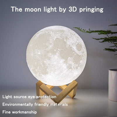 16 COLORS LED Night Light 3D Print Moon Lamp Rechargeable Color Change 3D Light Touch Moon Lamp Children's Lights Night Lamp for Home