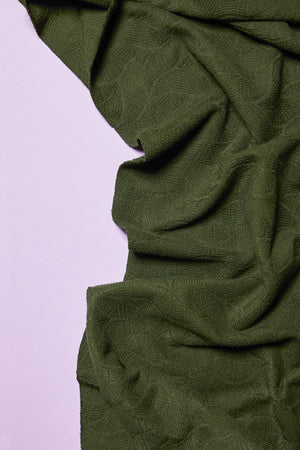 Load image into Gallery viewer, ORGANIC LEAF JACQUARD KNIT • Green Khaki $40.00/metre