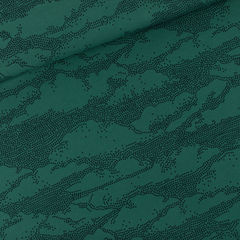 FRENCH TERRY • CLOUDS • Bistro Green $40.00/metre