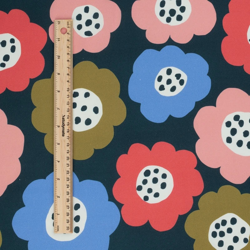 COTTON POPLIN •  JENNIFER BOURON • WINTER FLOWERS $27.00/metre