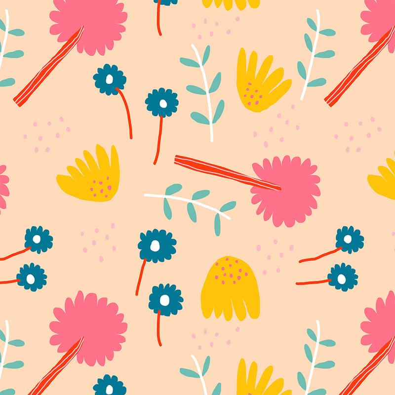 Load image into Gallery viewer, ORGANIC COTTON • JENNIFER BOURON • PLANTS • Coral $27.00/metre