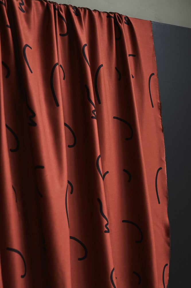 LENZING™ ECOVERO™ Viscose • DOODLE LINES • Sienna $36.00/metre