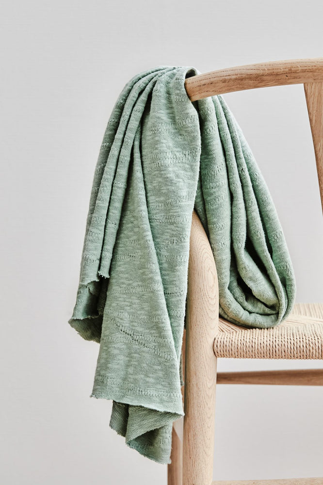 Load image into Gallery viewer, ORGANIC SLUB JACQUARD KNIT • Sage Green $46.00/metre