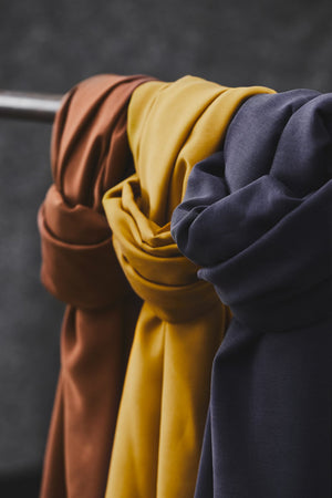 Smooth drape twill tencel Rust, Amber & Blueberry