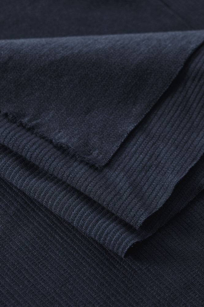 Load image into Gallery viewer, ORGANIC WOOLEN KNIT • OTTOMAN • Indigo Night $46.00/metre