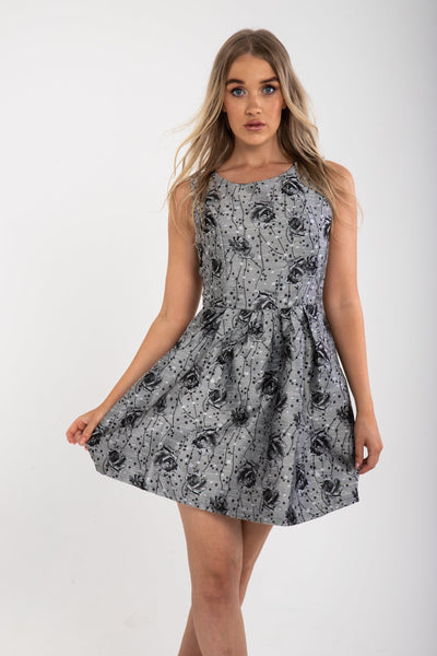 Black Floral Dress - Funky Fuchsia