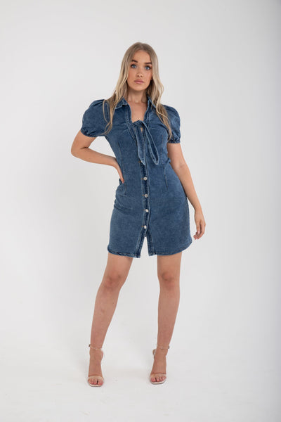 Buttoned Denim Dress - Funky Fuchsia